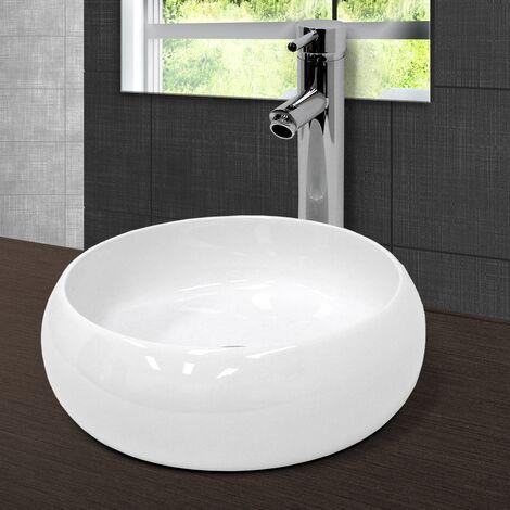 Lavabo en céramique blanc vasque èvier à poser design rond moderne Ø 400 mm