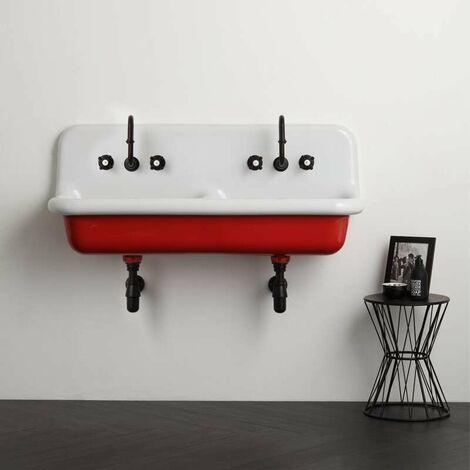 Lavabo en céramique émaillée 120 cm True Colors - Rouge