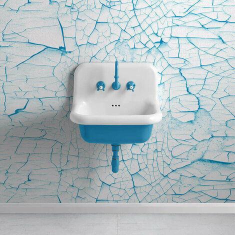 Lavabo rétro en céramique 60 cm - True Colors - Bleu