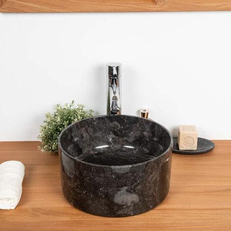 Lavabo En Marbre Salle De Bain Ulysse 30 Cm Noir 4632