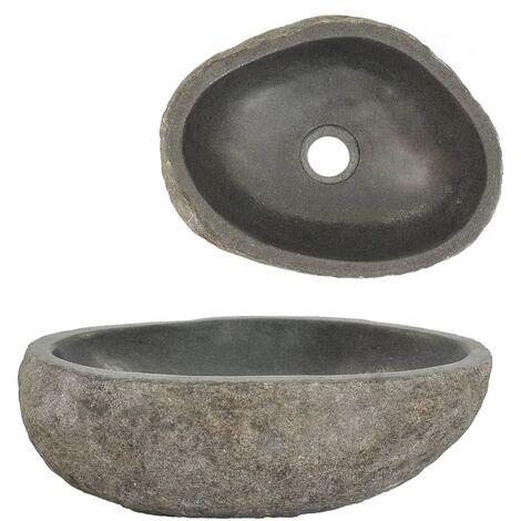 Lavabo en pierre de rivière Ovale 30-37 cm