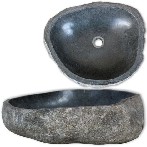 Lavabo en pierre de rivière Ovale 30-37 cm Vasque pour salle de bain
