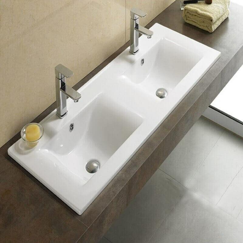 Lavabo encastrable double vasque c ramique 120x46 cm - Double evier salle de bain ...