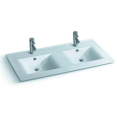 Lavabo encastrable double vasque céramique - 120x46 cm - Space - 726