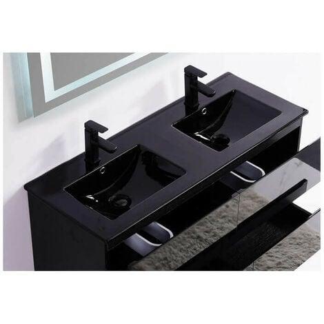 Lavabo encastrable double vasque céramique noire brillante - 120x46 cm - Dark