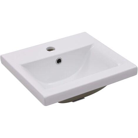 Lavabo encastrado de cerámica blanco 42x39x18 cm