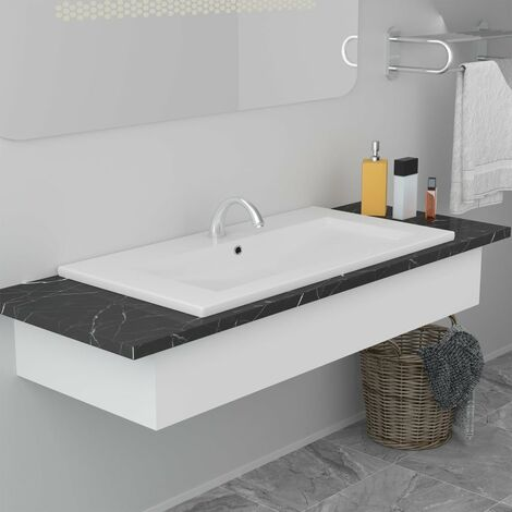 Lavabo encastrado de cerámica blanco 81x39,5x18,5 cm