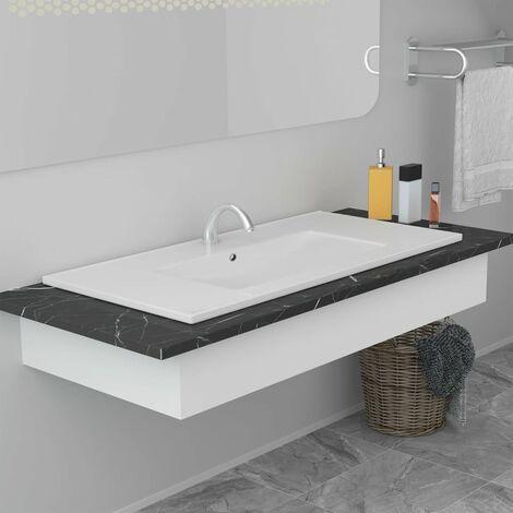 Lavabo encastrado de cerámica blanco 90,5x46,3x17,5 cm