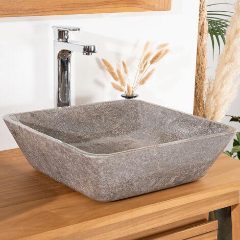 Lavabo encimera cuadrado para cuarto de baño 40 cm gris