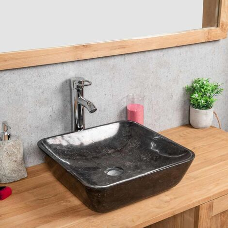 lavabo encimera de mármol Carmen cuadrado 40 cm negro