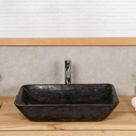 Lavabo encimera de mármol para cuarto de baño CARMEN 60 CM negro