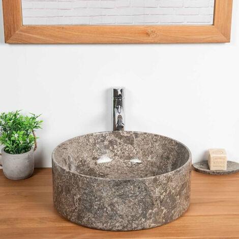 lavabo encimera de mármol para cuarto de baño Ulysse 40 gris