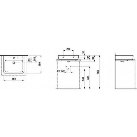 Lavabo Encimera Encimera Corriente PRO 1 agujero para grifo céntrico con rebosadero 550x480 blanco - H817951