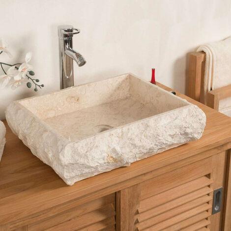 Lavabo encimera rectángulo de mármol NÁPOLES crema