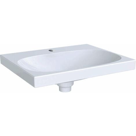Lavabo Geberit Acanto 500629, con agujero para grifo, con rebosadero invisible, 600x480mm, color: Blanco - 500.629.01.2