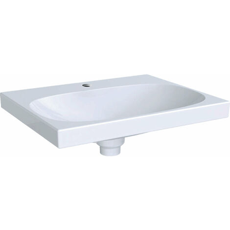Lavabo Geberit Acanto 500629, con agujero para grifo, con rebosadero invisible, 600x480mm, color: Blanco, con KeraTect - 500.629.01.8