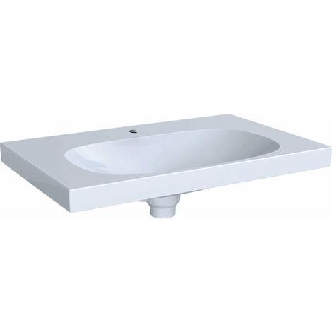 Lavabo Geberit Acanto 500630, con agujero para grifo, con rebosadero invisible, 750x480mm, color: Blanco, con KeraTect - 500.630.01.8