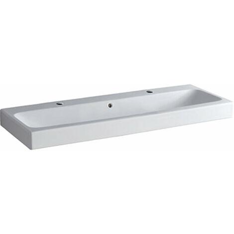 Lavabo Geberit iCon 120x48,5cm blanco, 124020 con dos agujeros para grifos, color: Blanco - 124020000