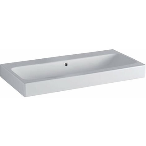 Lavabo Geberit iCon 900x485mm blanco, 124093 sin orificio para el grifo, color: Blanco, con KeraTect - 124093600