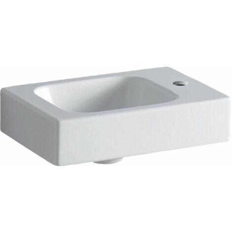 Lavabo Geberit iCon xs 38x28cm, blanco, con agujero para grifo a la derecha, color: Blanco, con KeraTect - 124736600