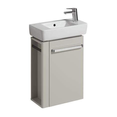 Lavabo Geberit Lavabo Renova Nr. 1 Comprimo Nuevo, toallero izquierda, 448x604x222mm, gris claro mate/gris claro alto brillo - 862251000