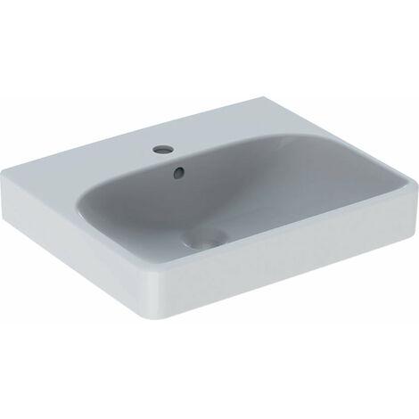 Lavabo Geberit Smyle Square 500256, 50x41cm, con grifo y rebosadero, color: Blanco - 500.256.01.1