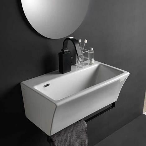 Lavandino Piccolo Per Bagno.Lavabo In Ceramica Per Installazione Sospesa 50x35 Utile Per Bagni Piccoli Xilon Block