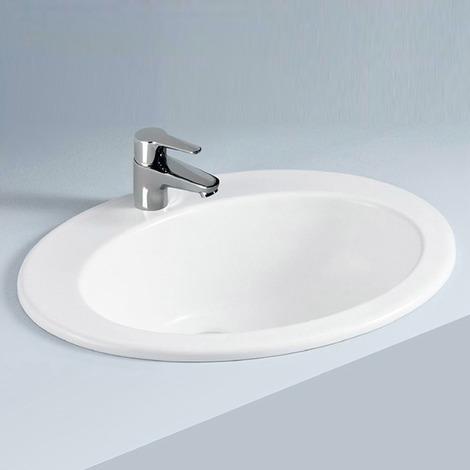 Lavabo incasso soprapiano 53x43x22 cm in ceramica bianca arredo bagno  moderno