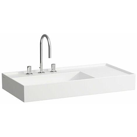 Lavabo Laufen Kartell, 2 agujeros para grifos, sin rebosadero, estantería a la derecha, 600x460, color: Blanco con LCC - H8103384008151