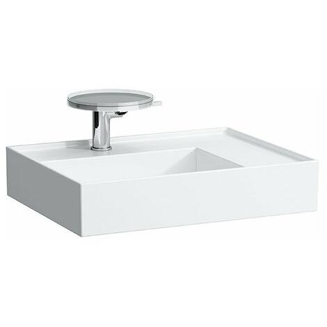Lavabo Laufen Kartell, 2 agujeros para grifos, sin rebosadero, estantería a la derecha, 600x460, color: Blanco - H8103340008151