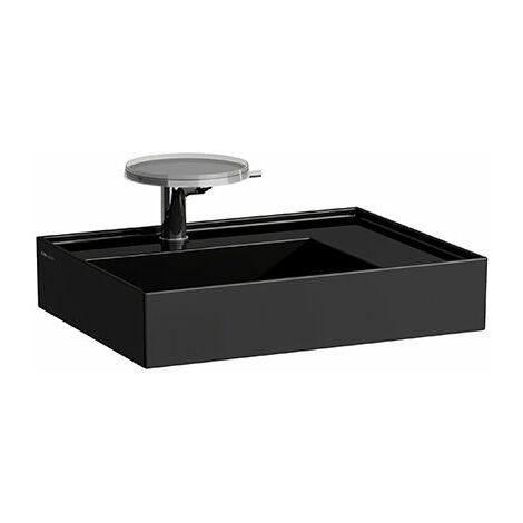Lavabo Laufen Kartell, 2 agujeros para grifos, sin rebosadero, estantería a la derecha, 600x460, color: Negro brillante - H8103340208151