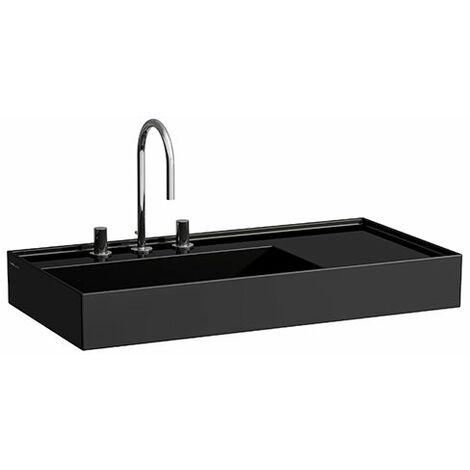 Lavabo Laufen Kartell, 2 agujeros para grifos, sin rebosadero, estantería a la derecha, 600x460, color: Negro brillante - H8103380208151