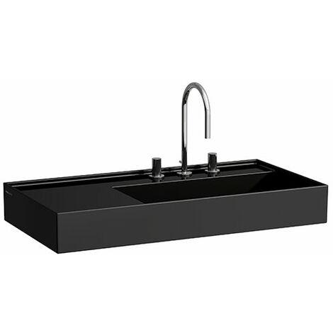 Lavabo Laufen Kartell, en construcción, repisa a la izquierda, 2 agujeros para grifos, sin rebosadero, 900x460, color: Negro brillante - H8103390208151
