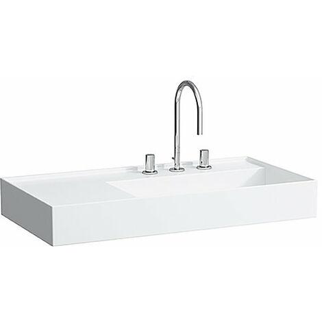 Lavabo Laufen Kartell, en construcción, repisa a la izquierda, sin agujero para grifo, sin rebosadero, 900x460, color: Blanco - H8103390001121