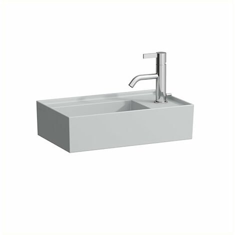 Lavabo Laufen Kartell Lavabo para manos, repisa para grifos a la derecha, puede montarse debajo, sin agujero para grifos, sin rebosadero, 460x280, color: Gris mate - H8153347591121