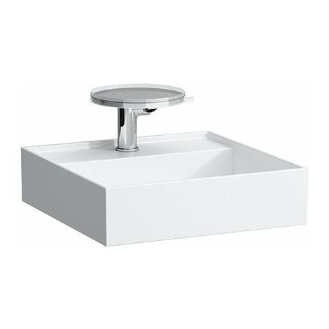Lavabo Laufen Kartell para enjuague a mano, subestructurable, 3 agujeros para grifos, sin rebosadero, 460x460, color: Blanco con LCC - H8153314001581