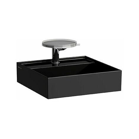 Lavabo Laufen Kartell para enjuague a mano, subestructurable, 3 agujeros para grifos, sin rebosadero, 460x460, color: Negro brillante - H8153310201581