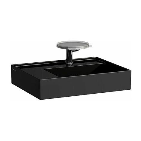 Lavabo Laufen Kartell, repisa izquierda, 2 agujeros para grifos, sin rebosadero, 600x460, color: Negro brillante - H8103350208151