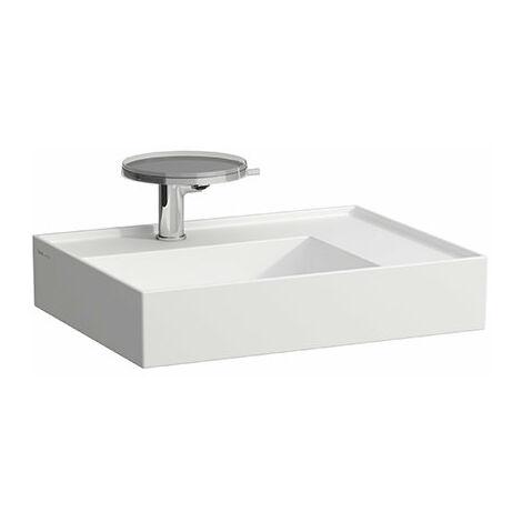 Lavabo Laufen Kartell, sin agujero para grifo, sin rebosadero, estantería a la derecha, 600x460, color: Nieve (blanco mate) - H8103347571121