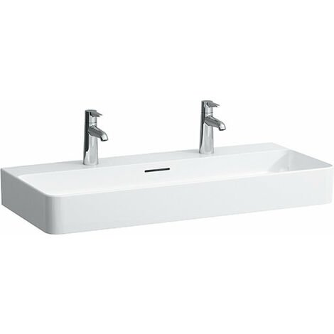 Lavabo Laufen VAL Muebles, 2 agujeros para grifos, con rebosadero, 950x420, blanco, color: Blanco con LCC - H8102874001071