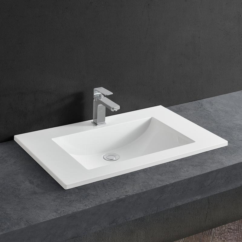 Lavabo lavabo encastré - blanc - 60x46x14,5cm - en fonte minérale