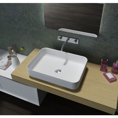 Lavabo / lavamanos de polímero mineral, rectangular, para apoyar PB2121, 55 x 40 x 13 cm