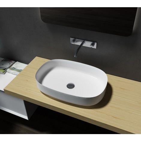 Lavabo / lavamanos en polímero mineral, ovalado, para apoyar PB2123 - 60 x 40 x 13 cm