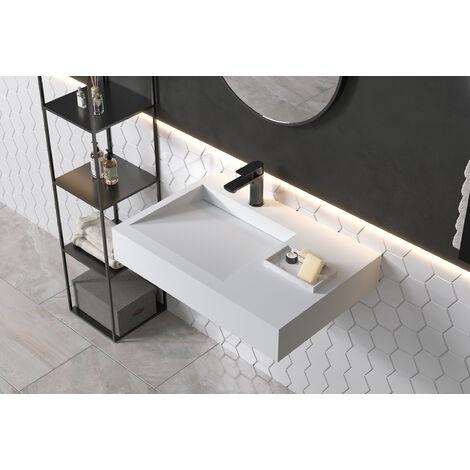 Lavabo / lavamanos suspendido PB2014 - 74 x 50 x 13 cm en resina sintética (Solid Stone)