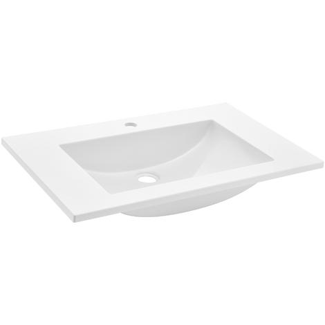Lavabo lujoso en forma rectangular - (60x46cm) blanco - lavabo integrado - SMC Duroplast (compuesto de moldeo de láminas)