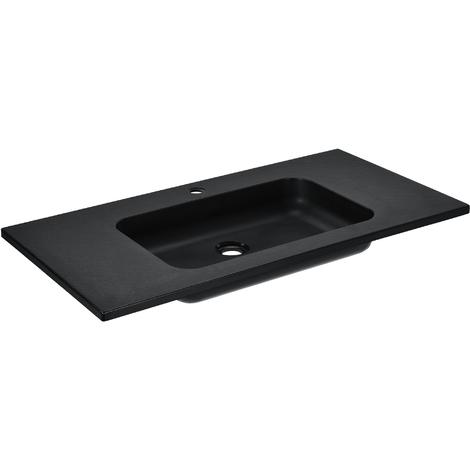 Lavabo lujoso en forma rectangular - (90x46cm) negro - lavabo integrado - mineral fundido