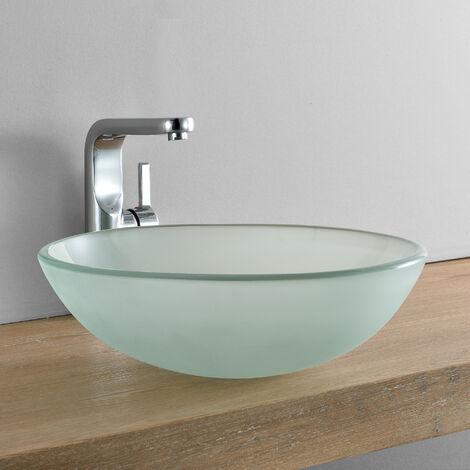 Lavabo lujoso en forma redonda - (42x42cm) - Lavabo sobre encimera - cristal de seguridad - Frosted / escarchado