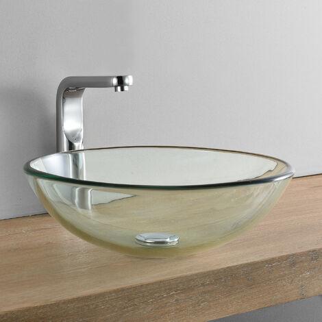 Lavabo lujoso en forma redonda - (42x42cm) - Lavabo sobre encimera - cristal de seguridad - transparente