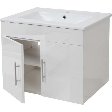 Lavabo + meuble sous évier HHG-235, meuble sous vasque, poli miroir 60cm