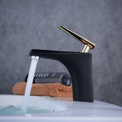 Lavabo Mezclador Grifo Lavabo Baño Mate Negro Oro Palanca Caño fijo ABS Desmontable